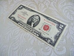1963 Two Dollar Bill, Uncirculated, Crisp, Red Seal, Serial A12148096a