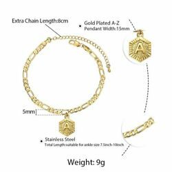 Wholesale Hex Initial A-z Anklet Bracelet Stainless Steel Figaro Link Foot Chain