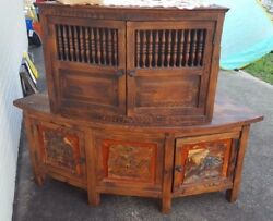 Vintage Rustic Real Wood Hutch 2 Piece Cabinet Curved Furniture Unusual Cupboard