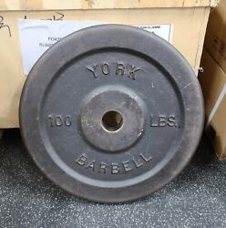 York Barbell Weights - 100 Lb. Olympic Plates - Rare Vintage Plates - Made In Us