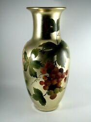 Andrea By Sadek Hand Painted Decorative Vase Gold Grapes And Leaves 10 Tall