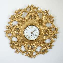 1960s Mid-century Large Syroco Gold Resin 8 Day Rococo And Brass Wall Clock No.