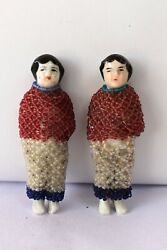 Antique China Head German Bisque Doll Porcelain Beaded Dress Hand Work Rare F12