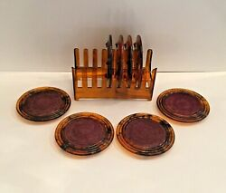 Mid Century Tortoise Shell Coaster Set 8 Coasters And Caddy Holder Lucite Acrylic