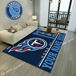 Personalized Tennessee Titans Team Logo Area Rug Living Room Custom Name Gift