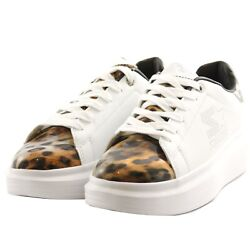 Shoes Sneakers Casual Starter Black Label Woman White Leather Leopard Upturn