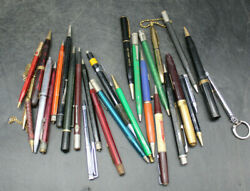Large Lot Of 29 Vintage Mechanical Pencils And Some Pens Advertising C31
