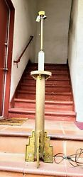Antique Floor Lamp Brass Large Candlestick 51-57 Inch 1900s Rewired Old Patina