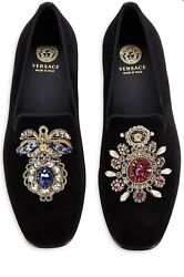 Versace Men's Shoes, Crystal And Goldtone Embellishments Loafers Size 11. Royal