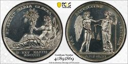 M003 Rare France 1802 Peace Of Amiens Silver Medal Pcgs Unc Details - Cleaned