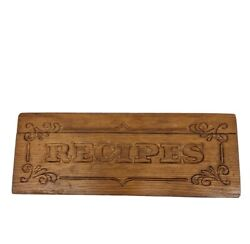 Vintage Large Wood Recipe Box Double Two Sided Index Card File Hinged Top