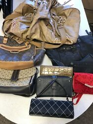 Large Mixed lot of handbags wallet and cozmetic bags Purse 9 Total $50.00