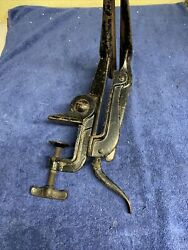 Vintage Cast Iron Hand Saw Sharpening Vise, 9-1/4 Long Jaws, Made In Usa