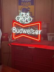 Rare Neon Budweiser Combined With Olympics Sign