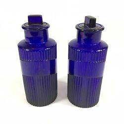 Antique Pair Of Cobalt Blue Apothecary Jars Ribbed 16cm In Height