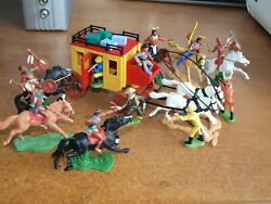 Britains And Timpo, Cowboys And Indians, With Stage Coach, 1/32 Scale Toy Soldiers