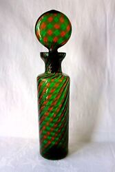 Vintage Italian Murano Fratelli Toso Art Glass A Canne Decanter C 1950