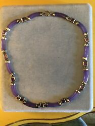 Purple Chinese Jade And Amethyst Necklace
