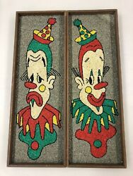 Vintage Set Of 2 Mid-century Comedy Tragedy Gravel Pebble Rock Art Wall Hanging