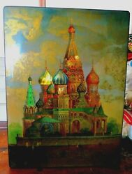 Splendid Large Fedoskino Russian Lacquer Box St. Basil's Cathedral In Moscow