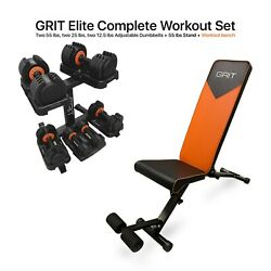 Grit 2x12.5 2x25 And 2x55 Lb Adjustable Dumbbells With Stand And Workout Bench