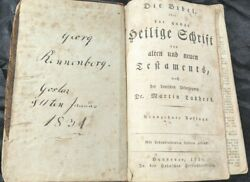 Rare 1830 German Bible Martin Luther Leather Bound Hanover New And Old Testament