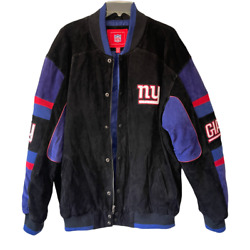 Vintage Nfl G-iii New York Giants Leather Suede Jacket Xl Embroidered Football