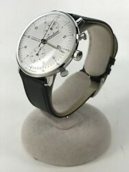Junghans Max Bill Chronoscope027/4003.44 Automatic Leather Very Good W/box
