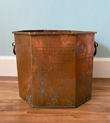 Oversized Octagon Hammered Copper Planter With Brass Handles And Green Verdigris