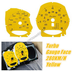 Yellow For Porsche 2012-19 718 Boxster / Cayman / Macan Turbo Gauge Face 280km/h