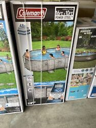 Coleman 16' X 10' X 48 Power Steel Frame Oval Pool Set W/pump, Filter And Ladder