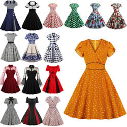 Womens 50s 60s Skater Dress Retro Pinup Swing Party Rockabilly A-line Housewife