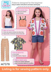 Sewing Pattern - Sew Girl Clothes Clothing Tween Teen Plus Size Easy Simple 7378