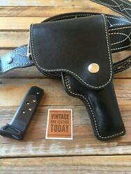Vintage Alfonsos Plain Black Leather Suede Lined Flap Holster For Walther Pp Ppk