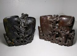 Set Of 2 Vintage Antique Chinese Carved Soapstone Sculptures Double Vase Flowers