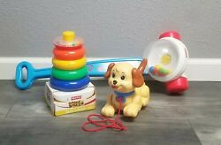 Fisher Price Corn Popper/lil Snoopy/rock-a-stack Infant/toddler Toys Lot Of 3