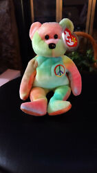 Ty Retired Beanie Baby Peace The Bear Pvc Pellets And Errors