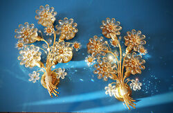 Large 1970s Palwa Floral Crystal Glass And Gilded Brass Wall Sconces - A Pair
