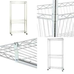 Rolling Laundry Clothes Rack Shelves Chrome Lightweight