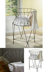 Vintage Wire Collapsible Laundry Basket Solid Panel Interior Decorative Paneled