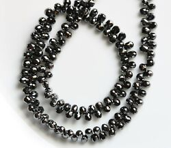 165 Pieces Natural Black Diamond Faceted Teardrop 2.7x3 - 3.5x4.5 Mm Diamond For