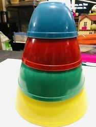 Pyrex Primary Colors Nesting Mixing Vintage Bowls Set Of 4 - 401 402 403 404
