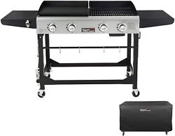 4 Burner Portable Propane Flat Top Gas Grill And Griddle Combo, Black