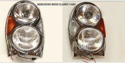 Mercedes W108 W109 W111 W112 Headlights Right And Left Pair New Bosch
