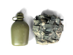 Military 1 Quart Od Green Heavy Duty Canteen With Acu Pouch