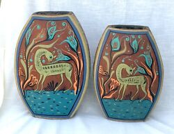 Pair Of Large Vintage Hand Decorated Vases - Tonala/tlaquepaque, Mexico - Deer