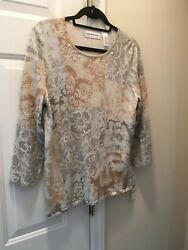 New Alfred Dunner Top Women's Size Small Eskimo Kiss 3/4 Sleeve 66mrp