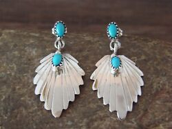 Navajo Sterling Silver Turquoise Post Leaf Earrings By Francisco