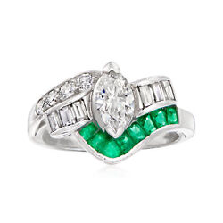 Vintage Diamond And Emerald Ring In Platinum Size 6