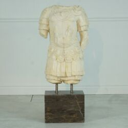 Solid Marble Soldier Torso Carving On Marble Base Hand Carved 49h